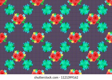 Beautiful raster seamless pattern for decoration and design. Exquisite pattern with rose flowers in vintage style. Trendy print with ditsy rose flowers and green leaves in blue and yellow colors.