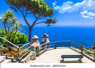 beautiful  Ravello village, view with church. Amalfi coast, Ital