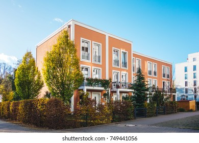 beautiful real estate townhouses in district with clean sky