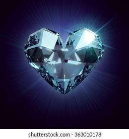 beautiful realistic Blue heart shaped ruby gemstone on a dark  background.