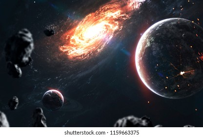 Beautiful realistic planets againt galaxy in deep space. Science fiction art. Elements of this image furnished by NASA