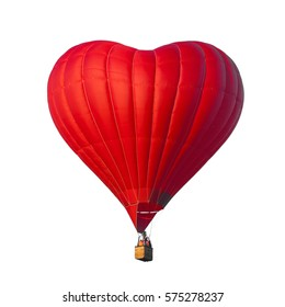 Beautiful red air balloon in the shape of a heart isolated on a white background. Romantic date present trip on Valentine's Day. Sports and recreation travel theme. Love symbol