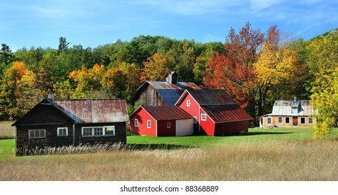Beautiful Red Barns in Autumn, Sleeping Bear Dunes National Lakeshore Michigan,USA