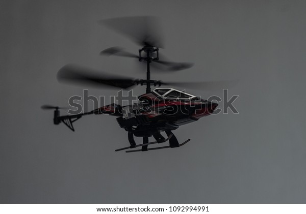 Beautiful Red Black Helicopter On White Stock Photo (Edit