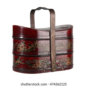 Beautiful red brown antique wooden food carrier isolated on white background.