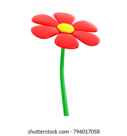 Beautiful Red Cartoon Flower on a white background. 3d Rendering
