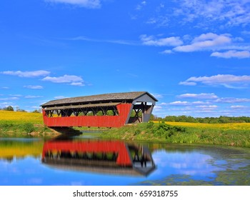 A beautiful red covered bridge in the Ohio countryside.