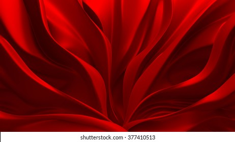 Beautiful red fluttering cloth. Background, 3d, abstract.