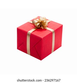 Beautiful red gift box with ribbon and bow isolated. Holiday presents.