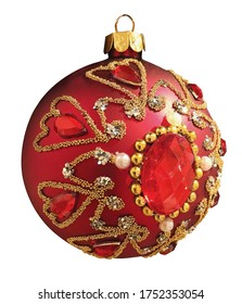 Beautiful Red and Gold Christmas Ball isolated on white background