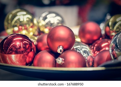 Beautiful red and golden Christmas glass balls decoration