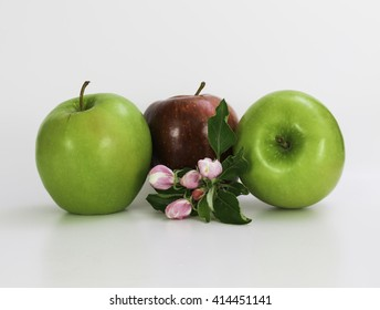 Beautiful red and green apples with apples leaf and flowers