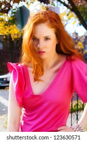 Beautiful Red Head On A Fall Day