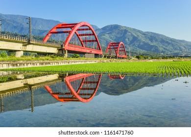 Beautiful Red Iron Bridge (Kecheng Bridge) And Morning Train Across The Rice Plantation At Yuli, Hualien, Taiwan
