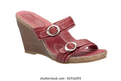 A beautiful red leather woman shoe