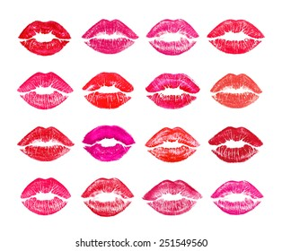 Beautiful red lips on white - seamless background