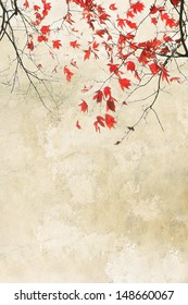 Beautiful red maple grungy autumnal background