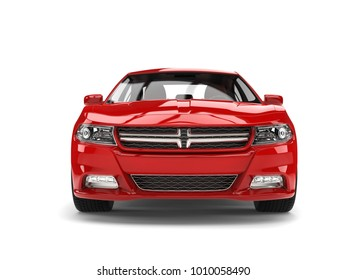 Beautiful red modern city sports car - front view - 3D Illustration