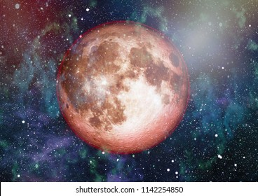 Beautiful red moon in space  - Elements of this Image Furnished by NASA