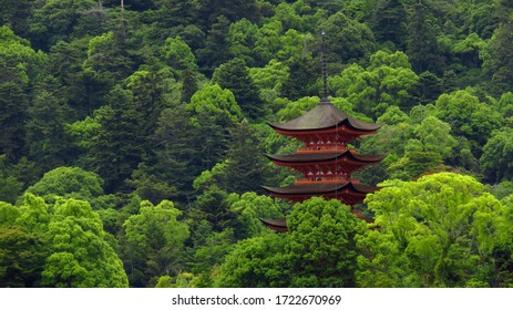 Beautiful Red Pagoda in Green Forest in Japan