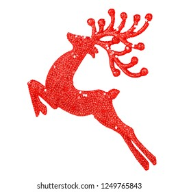 Beautiful red reindeer decoration isolated on white background, little Santa helper toy, Christmas tree ornament