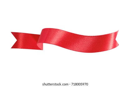 Beautiful red ribbon of banner on white background with clipping path.