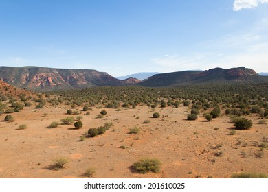 Beautiful red rock formations and mountains
