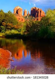 Beautiful red rocks of Sedona, Arizona, USA with reflections at sunset