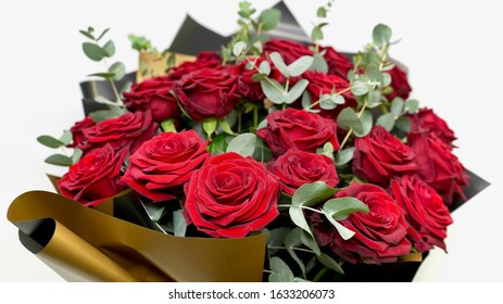 Beautiful red rose bouqet. Flower composition for valentines day isolated