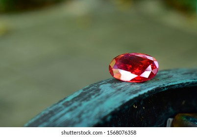 Beautiful  red ruby on natural background