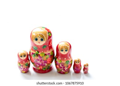 Beautiful red russian nesting dolls