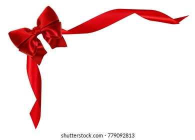 Beautiful red satin gift bow with ribbons, isolated on white