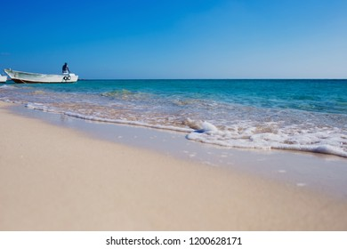 Beautiful Red sea horizont, sand and blue water waves