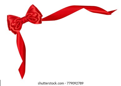 Beautiful red silk gift bow, isolated on white