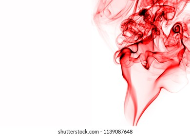 Beautiful red smoke abstract on white background