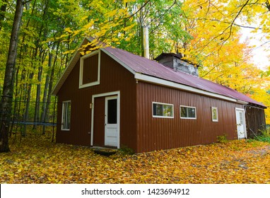Beautiful red sugar shack, also known as sap house, sugar house, sugar shanty. Small cabins or groups of cabins where sap collected from sugar maple trees is boiled into maple syrup. Quebec, Canada.