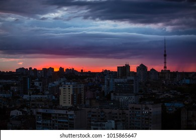 beautiful red sunset in Kiev