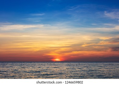 beautiful red sunset over the ocean