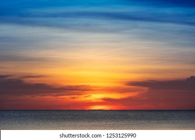 beautiful red sunset over the sea