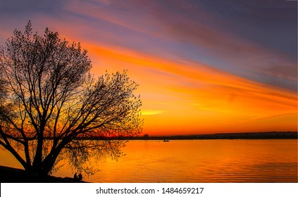 Beautiful red sunset river reflection landscape