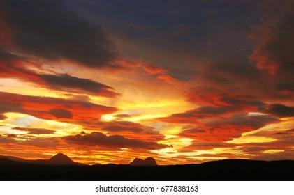 Beautiful Red Sunset Sky Landscape, Nature of Highlands of Scotland