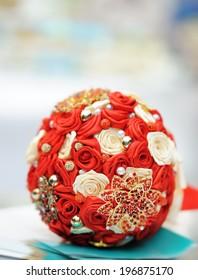 Beautiful red wedding bouquet