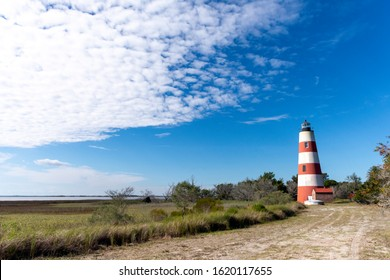The beautiful red and white lighthouse on Sapelo Island, Georgia, is a historic landmark in the coastal lowcountry.