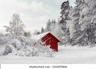 Beautiful red wooden house in snow fairy forest Sweden. House painted in traditional Swedish color. Winter scenery with red cottage surrounded by trees covered with snow and frost. Space for your text