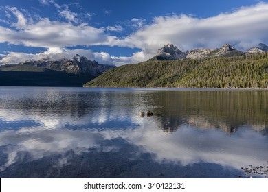 Beautiful Redfish Lake and the sawtooth mountains near Stanley, Idaho on a sunny day.