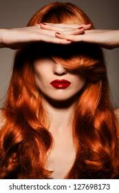 Beautiful Redhair Girl.Healthy Curly Hair.