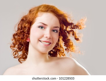 Beautiful red-haired girl's face
