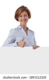Beautiful redhead business woman holding blank sign isolated on white background