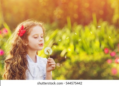 Beautiful redhead curly girl blowing  dandelion in a spring garden. Healthy, medical, happy childhood concept.