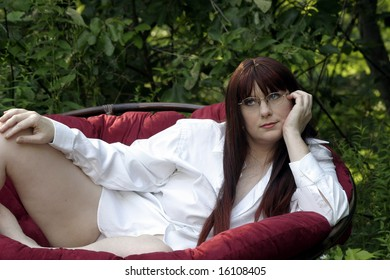 Beautiful redhead laying down, relaxation
